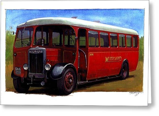 1930s Paintings Greeting Cards - Midland Red SON Greeting Card by Mike  Jeffries