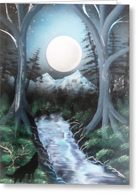 Wolf Creek Paintings Greeting Cards - Midnight Moon Greeting Card by Edward Parker