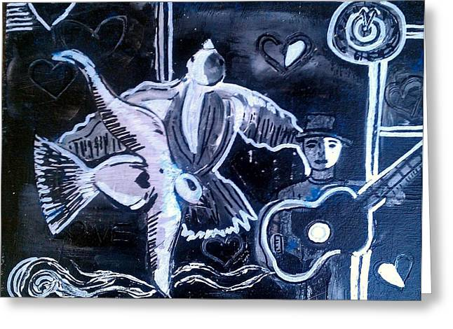 Music Time Drawings Greeting Cards - Midnight Seranade  Greeting Card by Ana Julia Fishman