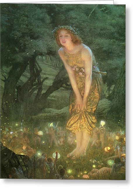 Midsummer Greeting Cards - Midsummer Eve Greeting Card by Edward Robert Hughes