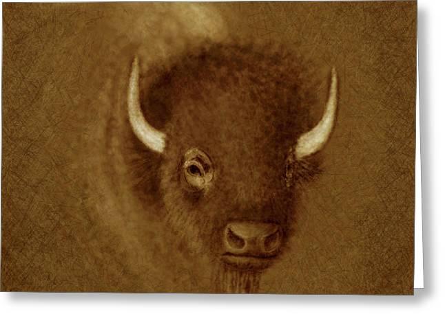 Holdorf Greeting Cards - Mighty Buffalo Greeting Card by Kurt Holdorf