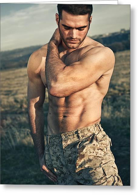 Male Model Greeting Cards - Mikkel Greeting Card by Invicta