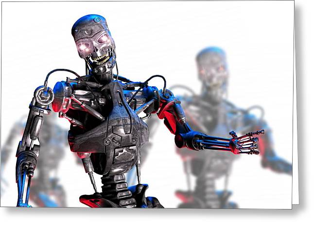 Glowing Eyes Greeting Cards - Military Robot, Artwork Greeting Card by Victor Habbick Visions
