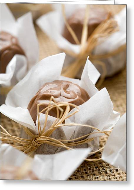 Chocolate Pralines Greeting Cards - Milk chocolate Greeting Card by Kati Molin