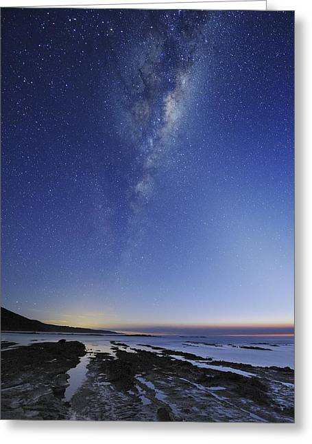 Moonlit Night Greeting Cards - Milky Way Over Cape Otway, Australia Greeting Card by Alex Cherney, Terrastro.com