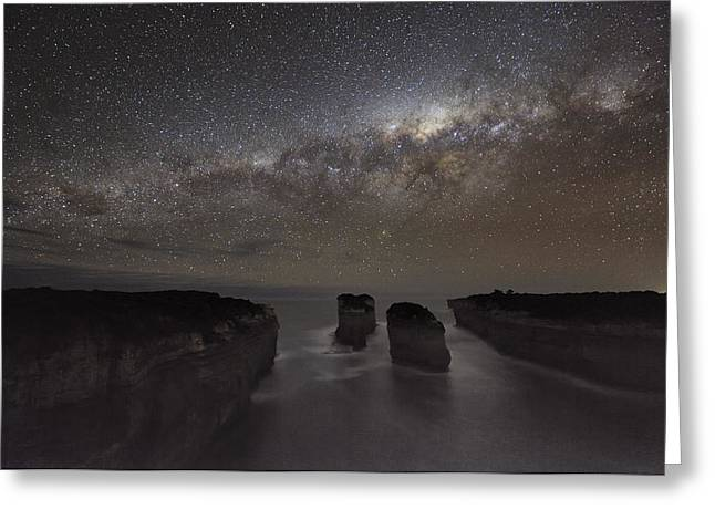 Moonlit Night Greeting Cards - Milky Way Over Shipwreck Coast Greeting Card by Alex Cherney, Terrastro.com