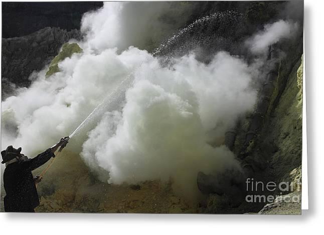 Manual Greeting Cards - Miner Cooling Condensation Pipes, Kawah Greeting Card by Richard Roscoe