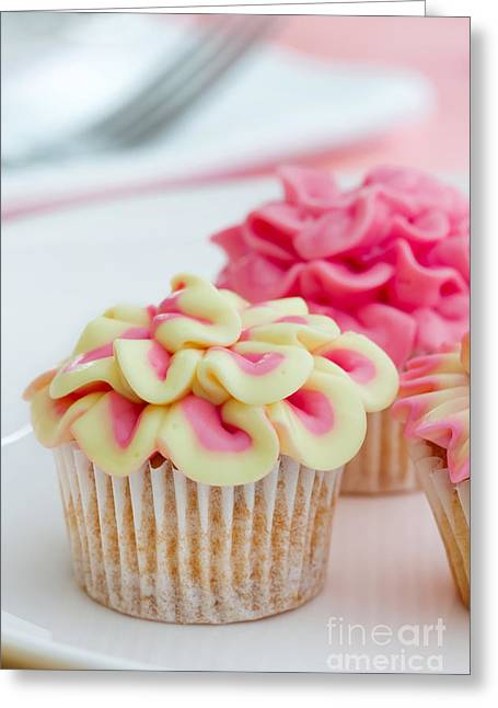 Tea Party Greeting Cards - Mini flower cupcakes Greeting Card by Ruth Black
