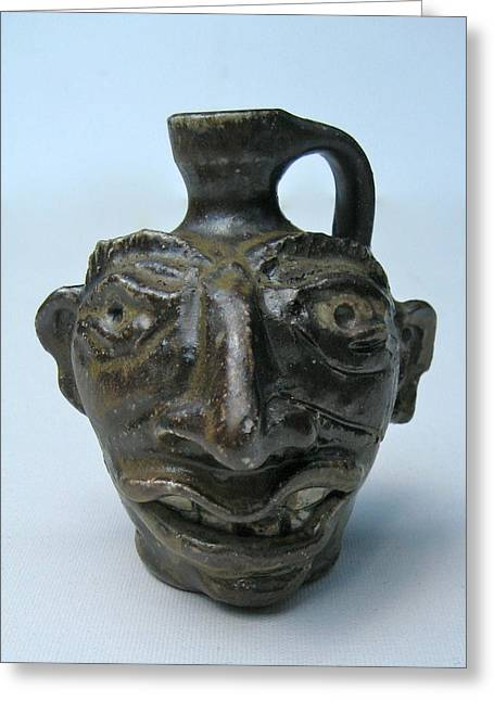 Fired Ceramics Greeting Cards - Miniature Face Jug Greeting Card by Stephen Hawks
