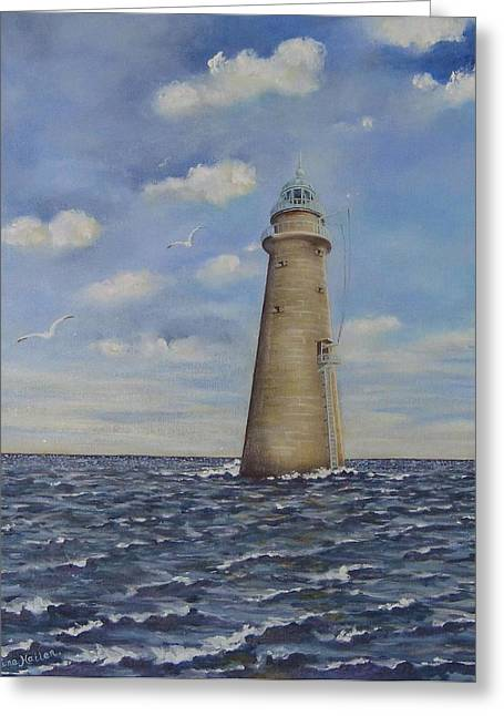 Cohasset Greeting Cards - Minot Lighthouse Greeting Card by Elaine Hailer