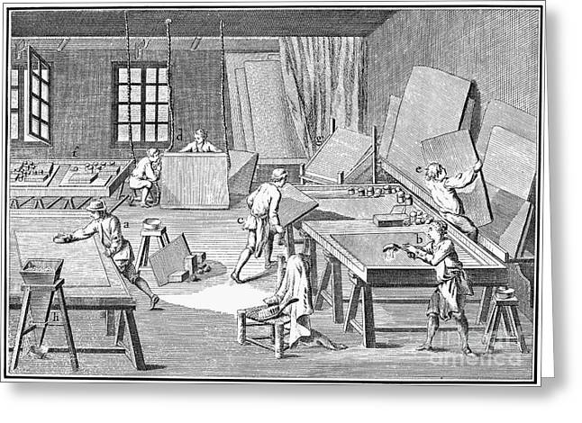 1750s Greeting Cards - Mirror Manufacturing Greeting Card by Granger