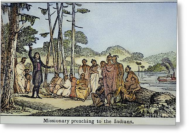 1850s Greeting Cards - Missionary And Native Americans Greeting Card by Granger