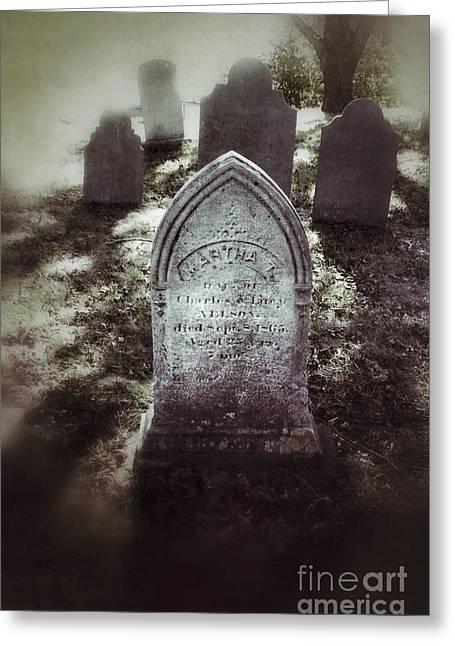 Misty Graveyard Greeting Card by Jill Battaglia