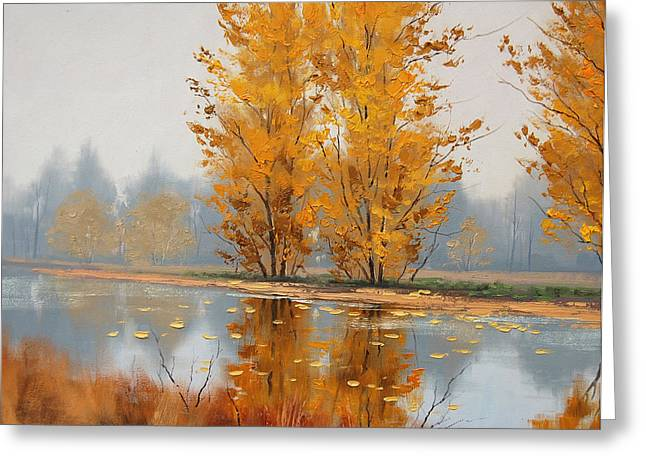 Fall Trees Greeting Cards - Misty Lake Greeting Card by Graham Gercken