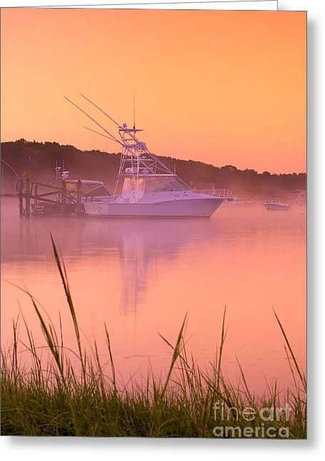 Foggy Beach Greeting Cards - Misty Morning Osterville Cape Cod Greeting Card by Matt Suess