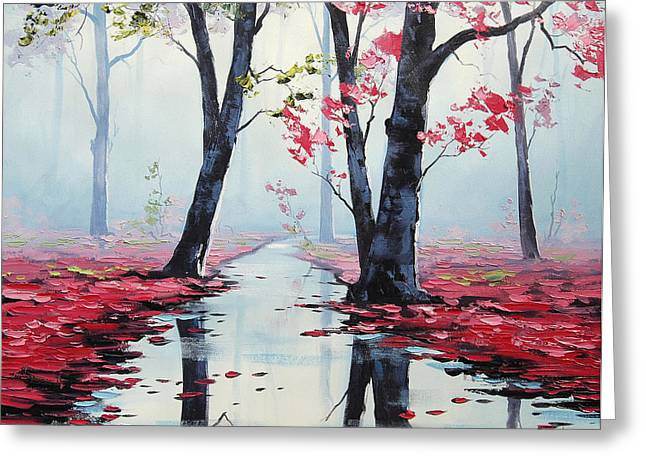 Autumn Landscape Paintings Greeting Cards - Misty pink Greeting Card by Graham Gercken