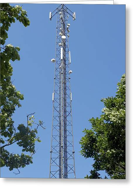 Technological Communication Greeting Cards - Mobile Phone Mast Greeting Card by Carlos Dominguez
