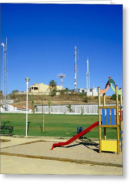 Residential Structure Greeting Cards - Mobile Phone Masts Greeting Card by Carlos Dominguez