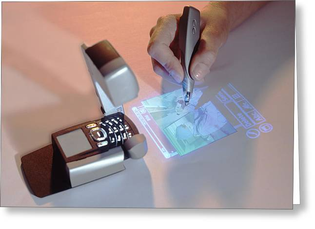 Mobile Phone Greeting Cards - Mobile Phone With Projector Greeting Card by Volker Steger
