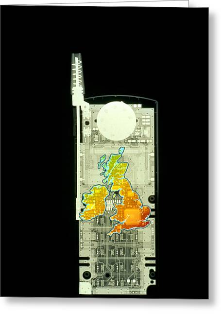 Cellphone Greeting Cards - Mobile Phone X-ray Greeting Card by D. Roberts