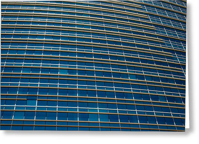 Industrial Concept Greeting Cards - Modern Blue Office Building Greeting Card by Brandon Bourdages