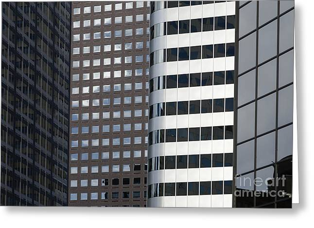 Office Space Photographs Greeting Cards - Modern High Rise Office Buildings Greeting Card by Roberto Westbrook
