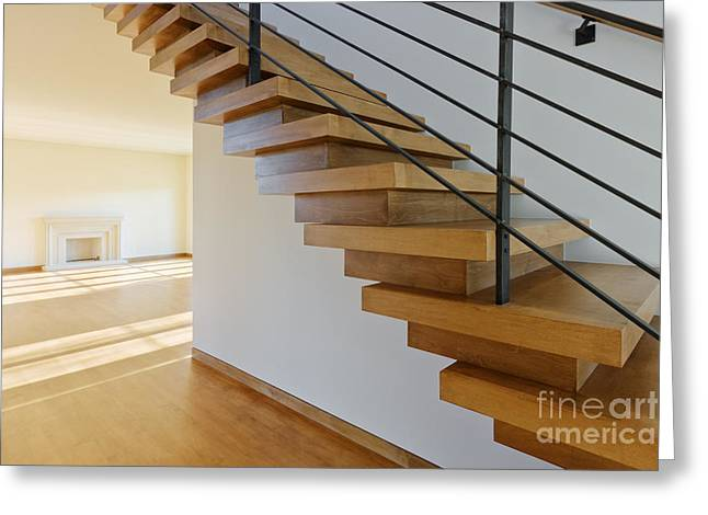 Leadership In Energy And Environmental Design Greeting Cards - Modern Wood Staircase Greeting Card by Jeremy Woodhouse