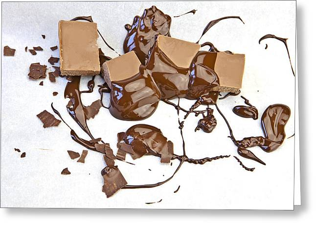Chocolate Photographs Greeting Cards - Molten Chocolate Greeting Card by Joana Kruse