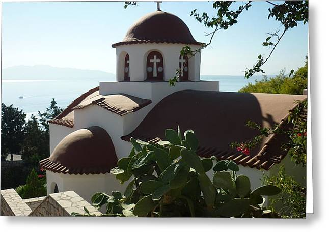 Monastery Of St Savas Greeting Card by Therese Alcorn