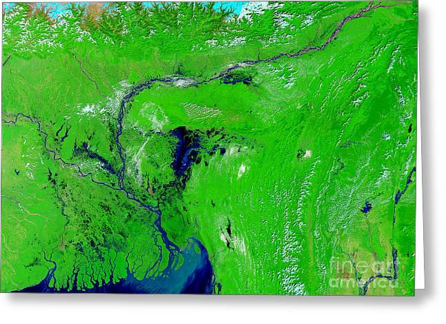 River Flooding Greeting Cards - Monsoon Floods Greeting Card by NASA / Science Source