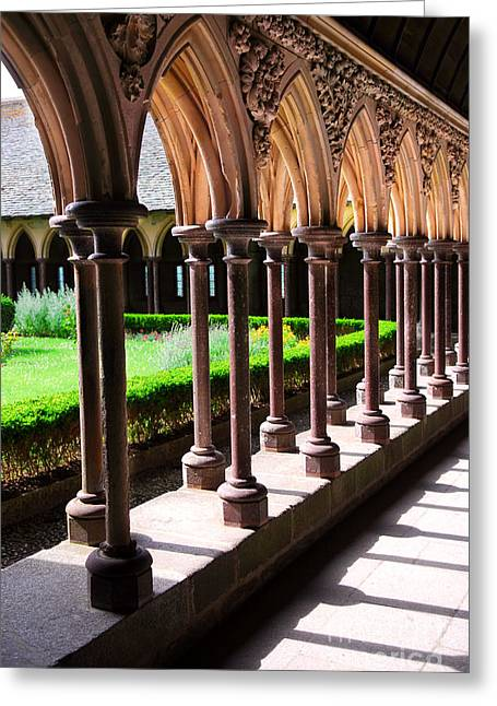 Cloister Greeting Cards - Mont Saint Michel cloister  Greeting Card by Elena Elisseeva
