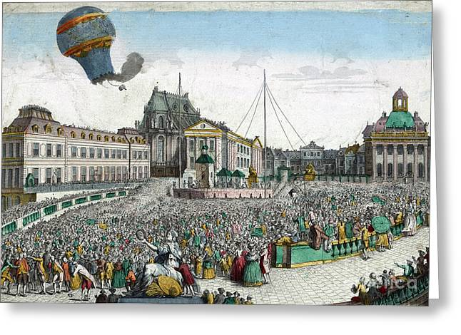 Living Beings Greeting Cards - Montgolfier Balloon Aérostat Réveillon Greeting Card by Photo Researchers