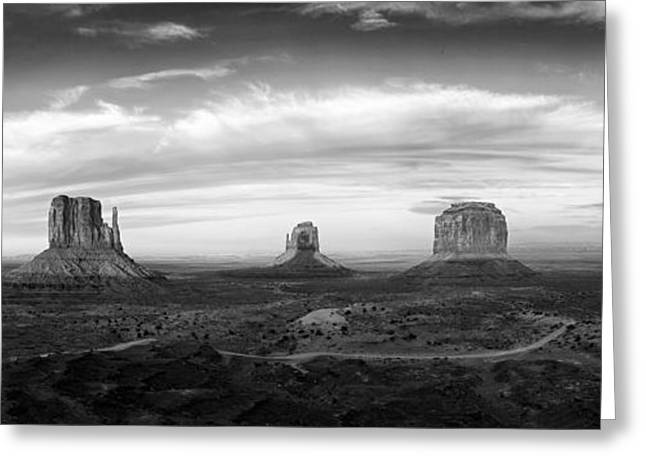White Mittens Greeting Cards - Monument Valley Panorama Greeting Card by Andrew Soundarajan