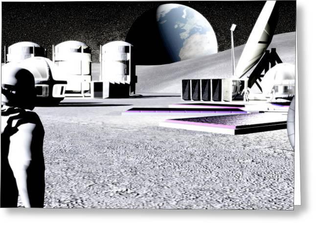 Lunar Base Greeting Cards - Moon Base Greeting Card by Christian Darkin