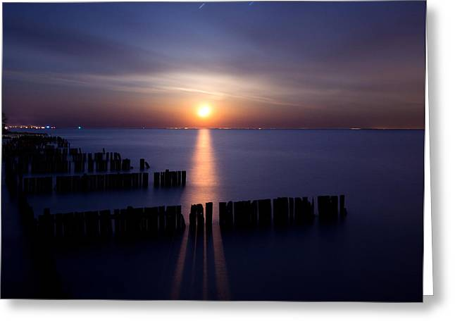 Lake Erie Photographs Greeting Cards - Moonrise Greeting Card by Cale Best
