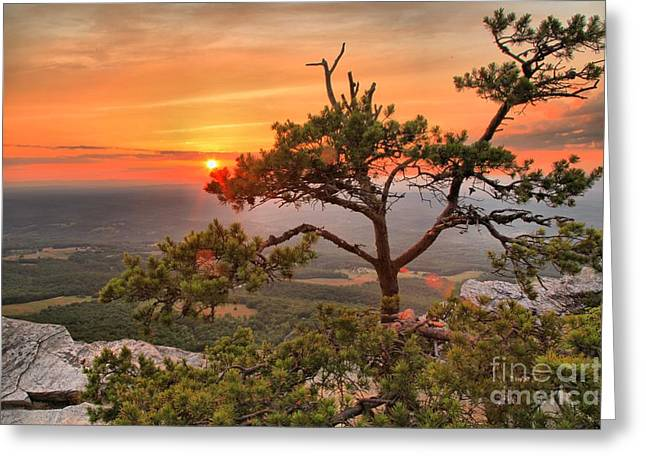 Ledge Photographs Greeting Cards - Moores Knob Sunset Greeting Card by Adam Jewell