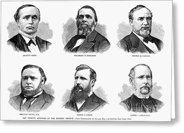Young Albert Greeting Cards - Mormon Apostles, 1877 Greeting Card by Granger