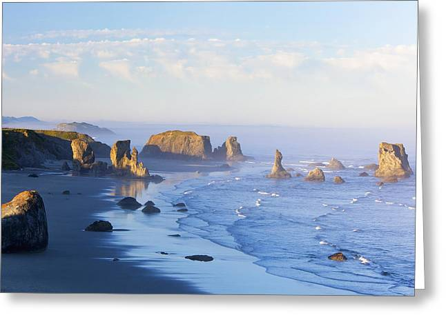 Foggy Beach Greeting Cards - Morning Light Adds Beauty To Fog Greeting Card by Craig Tuttle