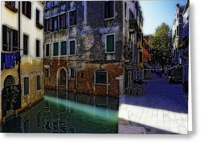 Morning Light In Venice Greeting Card by George Oze