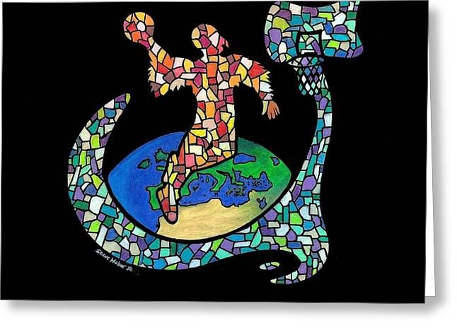Slam Drawings Greeting Cards - Mosaic Ballin Greeting Card by Steve Weber