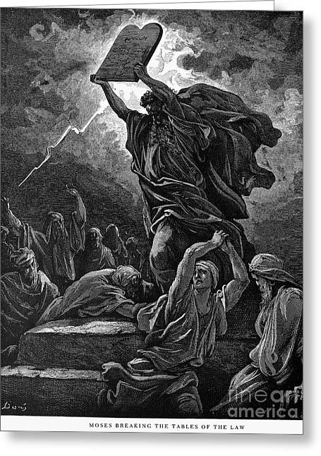 Sinai Mountain Greeting Cards - Moses Breaking The Tablets Greeting Card by Granger