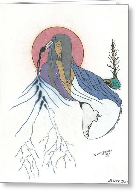 Gaia Drawings Greeting Cards - Mother Earth Greeting Card by Elliot Janvier