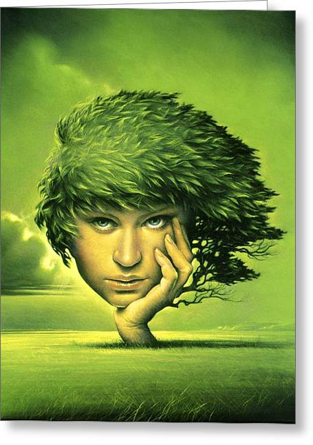 Leaves In Hair Greeting Cards - Mother Nature, Conceptual Artwork Greeting Card by Smetek