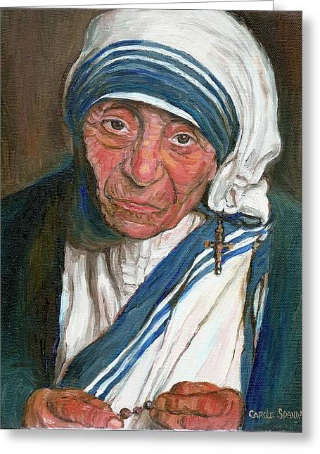 Mother Theresa Greeting Cards - Mother Teresa Greeting Card by Carole Spandau