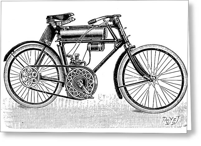1901 Greeting Cards - Motorcycle, 1901 Greeting Card by Granger