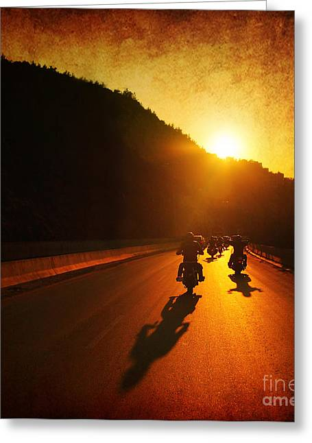 Bike Trip Greeting Cards - Motorcycle ride Greeting Card by Anna Omelchenko