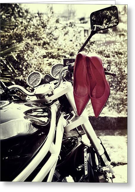Sexy Shoes Greeting Cards - Motorcycle With Shoes Greeting Card by Joana Kruse