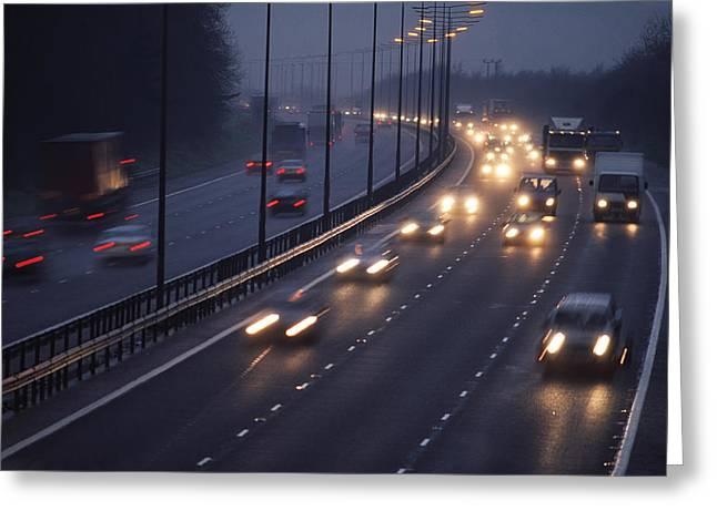 Motorway Greeting Cards - Motorway Traffic In The Rain Greeting Card by Jeremy Walker