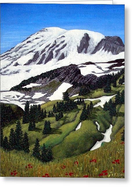 Artwork Greeting Cards - Mount Rainier Greeting Card by Frederic Kohli