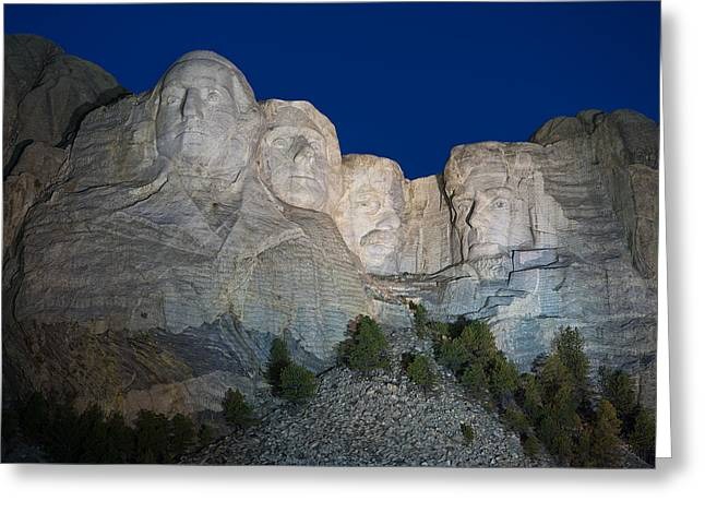 Dakotas Greeting Cards - Mount Rushmore Nightfall Greeting Card by Steve Gadomski